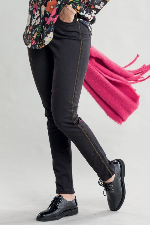 Pantalon bande latérale dorée