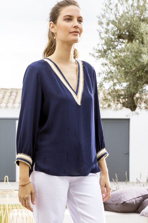 Blouse manches col V